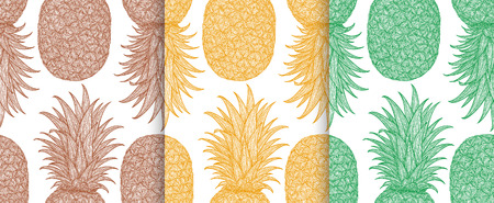 detox: Hand drawn pattern with decorative pineapple. Stylized colorful fruit. Summer spring background, nature collection. Vector illustration