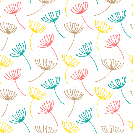 Hand drawn pattern with decorative dandelion seeds. Stylized colorful branches. Summer spring background, nature collection. Vector illustration