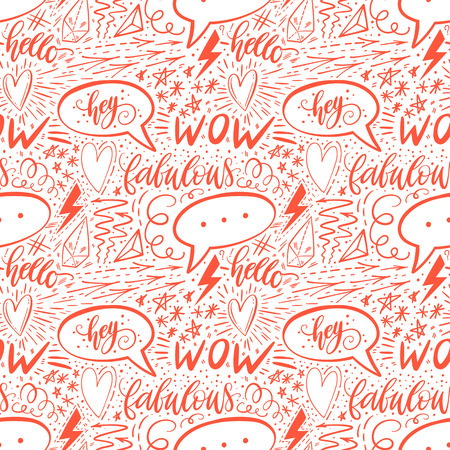 Calligraphy hand lettering seamless pattern. Positive signs, star, heart, speech bubbles, geometric forms. Perfect for print, textile, t-shirts, phone cases. Modern surface design. Vector illustration