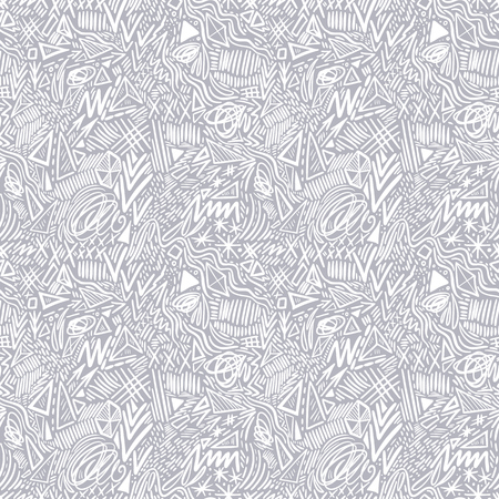 Geometric doodle hand drawn seamless pattern. Random decorative elements vector illustration. Illustration