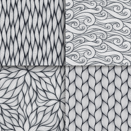 Abstract wavy lines seamless patterns set. Floral organic like vector illustration. Bright colorful seamlessly tiling background collection.