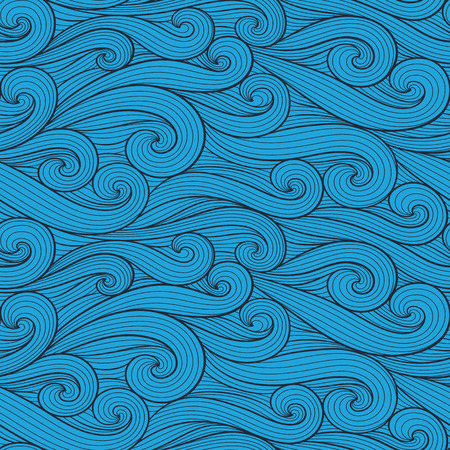 Abstract colorful curly lines seamless patterns set. Waves and curls vector illustration. Bright colorful seamlessly tiling background collection.