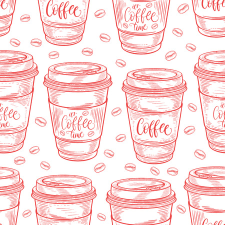 Hand drawn coffee cups seamless pattern. Isolated on white background. Decorative doodle vector illustration