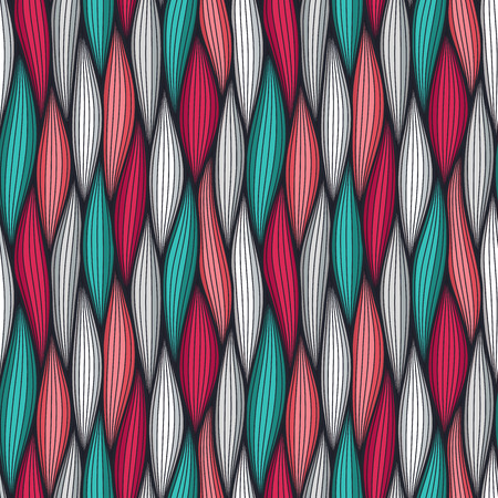Abstract wavy lines seamless pattern. Floral organic vector illustration. Bright colorful seamlessly tiling background collection Illustration