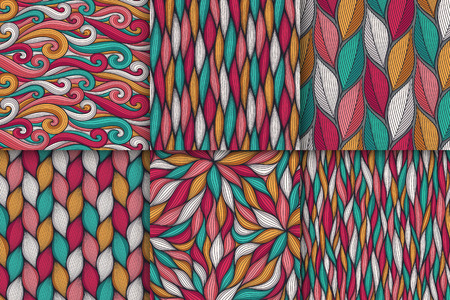 Abstract wavy lines seamless patterns set. Floral organic vector illustration. Bright colorful seamlessly tiling background collection. Standard-Bild - 102804292