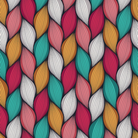 Abstract wavy lines seamless pattern. Floral organic vector illustration. Bright colorful seamlessly tiling background collection