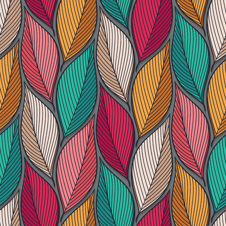 Stylized colorful leaves seamless pattern. Nature universal textures. Hand drawn decorative floral ornamental background. Vector illustration