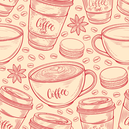 Hand drawn seamless pattern with coffee cups, beans, mugs, macaroons. Colorful background in vintage retro colors. Decorative doodle vector illustration