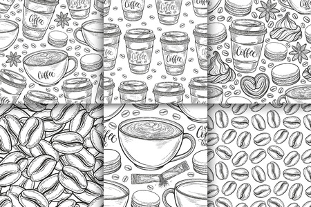 Coffee cups, beans, mugs, macaroons hand drawn seamless pattern set. Monochrome black and white vector background. Decorative sketch doodle illustration