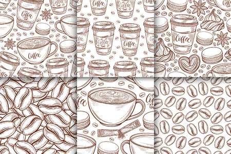 Coffee cups, beans, mugs, macaroons seamless pattern set. Vector background hand drawn in lines collection. Decorative sketch doodle illustration