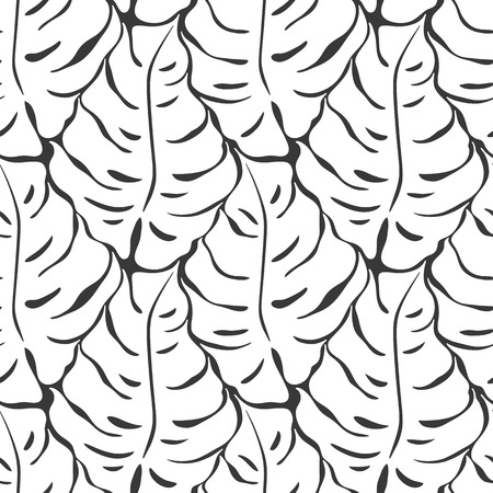Seamless pattern with monstera leaves silhouettes. Trending tropical background. Vector illustration Illustration