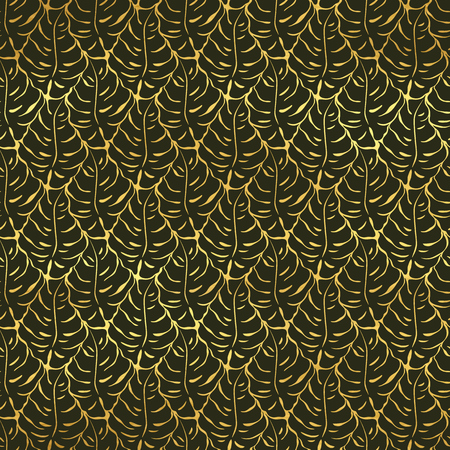Seamless pattern with monstera leaves silhouettes. Trending tropical background. Vector illustration 向量圖像