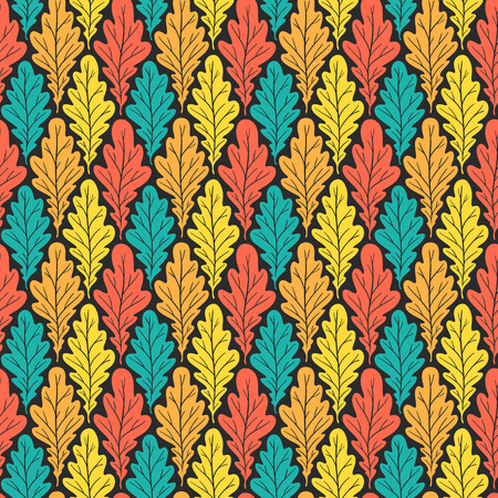 Stylized colorful silhouette oak leaves seamless pattern. Nature universal textures. Hand drawn decorative floral ornamental background. Vector illustration Иллюстрация