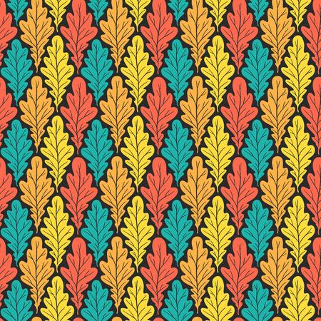 Stylized colorful silhouette oak leaves seamless pattern. Nature universal textures. Hand drawn decorative floral ornamental background. Vector illustration Illusztráció