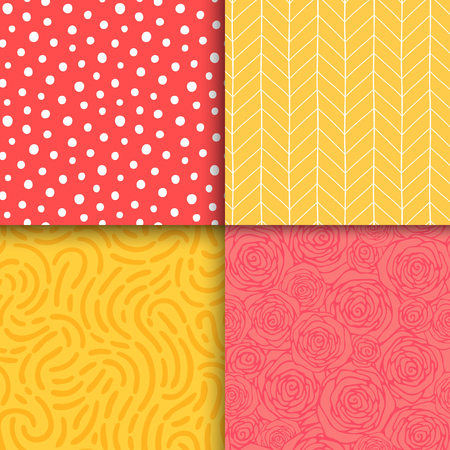 Abstract hand drawn geometric simple minimalistic seamless patterns set. Polka dot, stripes, waves, random symbols textures. Vector illustration 矢量图像