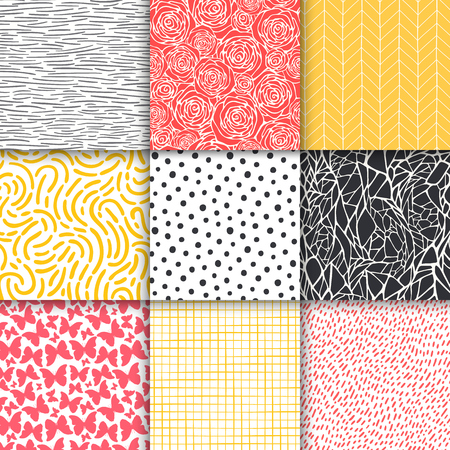 Abstract hand drawn geometric simple minimalistic seamless patterns set. Polka dot, stripes, waves, random symbols textures. Vector illustration Vector Illustration