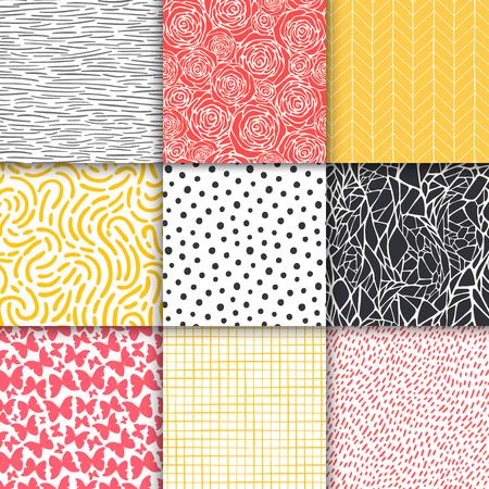 Insieme di modelli senza cuciture minimalisti semplici geometrici disegnati a mano astratti. Pois, strisce, onde, trame di simboli casuali. Illustrazione vettoriale Vettoriali