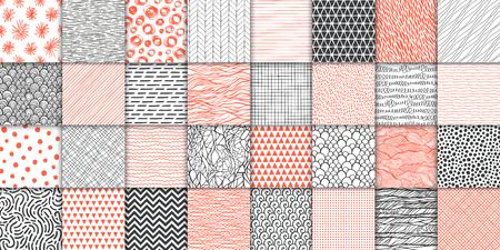 Abstract hand drawn geometric simple minimalistic seamless patterns set. Polka dot, stripes, waves, random symbols textures. Vector illustration Vector Illustratie