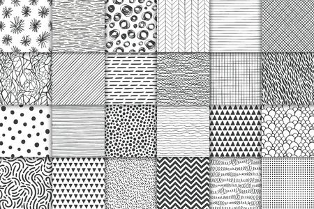Conjunto de patrones sin fisuras minimalistas simples geométricos abstractos dibujados a mano. Lunares, rayas, ondas, texturas de símbolos aleatorios. Ilustración vectorial Ilustración de vector