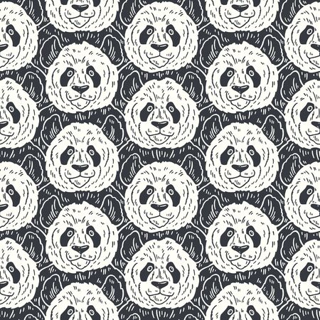 Cute funny cartoon panda seamless pattern. Vector illustration hand drawn in lines. Trendy doodle background