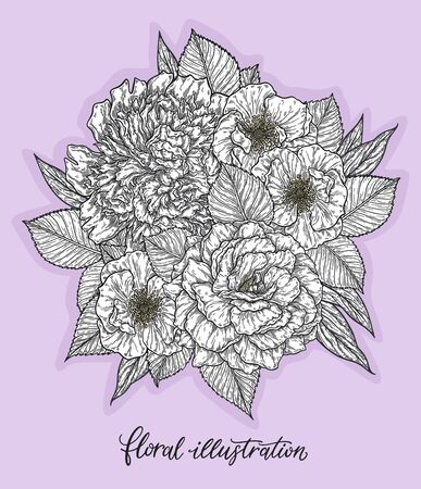 Rose and peonis flower hand drawn in lines. Black and white monochrome graphic doodle elements. Isolated vector illustration, template for design Vectores