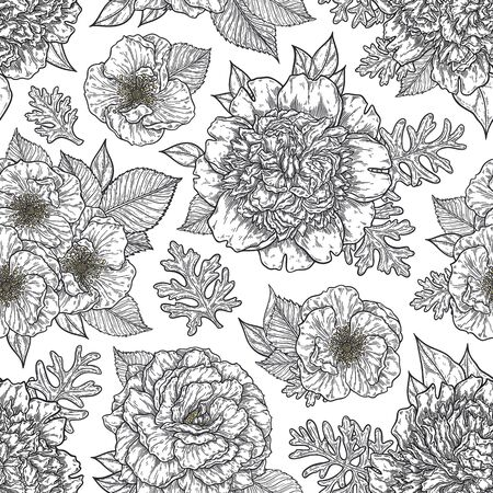 Seamless pattern with roses and peonies flower bouquet hand drawn in lines. Black and white monochrome graphic doodle elements. Isolated vector illustration, template for design