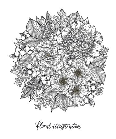 Roses and peonies flower bouquet hand drawn in lines. Black and white monochrome graphic doodle elements. Isolated vector illustration, coloring page or invitation card template