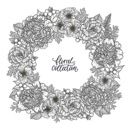 Roses and peonies flower bouquet wreath border hand drawn in lines. Black and white monochrome graphic doodle elements. Isolated vector illustration, template for design