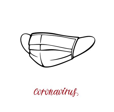 Surgical mask protective mask with coronavirus lettering. 2019-nCoV virus bacteria cell vector illustration isolated on white