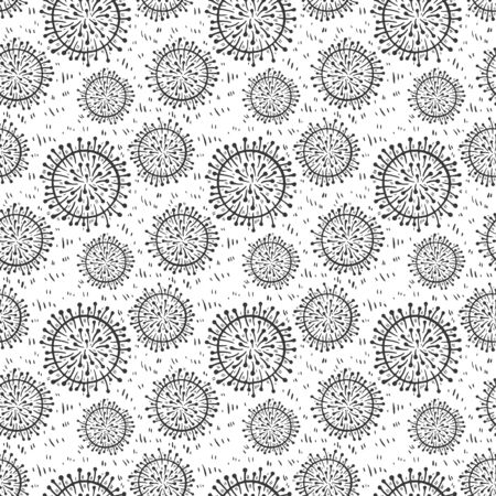 Coronavirus 2019-nCoV cells seamless pattern vector illustration. Virus bacteria background isolated on white Vectores