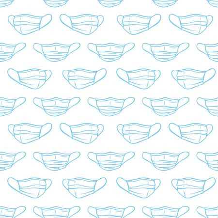 Surgical protective mask seamless pattern. Coronavirus COVID-19 quarantine vector illustration.