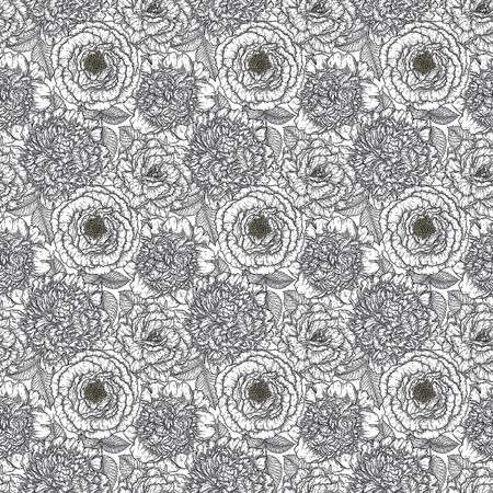 Seamless pattern with roses flower hand drawn in lines. Black and white monochrome graphic doodle elements. Isolated vector illustration, template for design