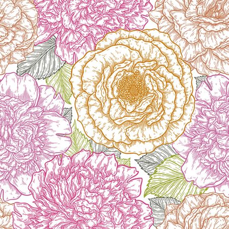 Seamless pattern with roses flower hand drawn in lines. Vector illustration, template for design