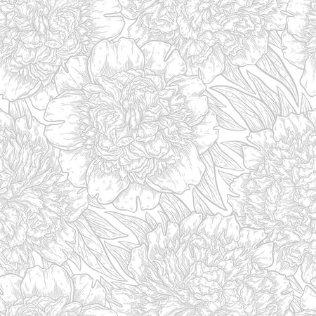 Seamless pattern with peonies flower hand drawn in lines. Graphic doodle elements. Isolated vector illustration, template for design