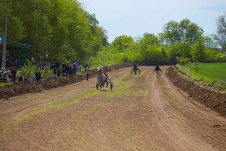 CEADIR-LUNGA/GAGAUZIA - 05.06.2016: Rider on a horse race on hippodrome. Horse carriage racing in Moldova.