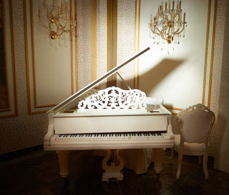 white piano in a n empty classic room. spring piano decor. gold light