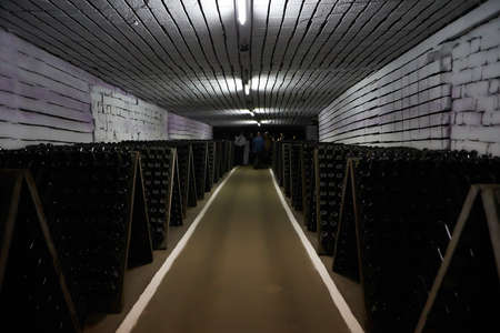old traditional beverage cellar, poor light. sparkling wine production area. The wine cellar.