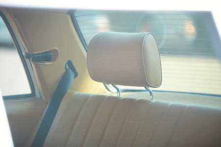 Close up of the beige classic vintage car seat. Image is vintage effect and soft light photo Stok Fotoğraf