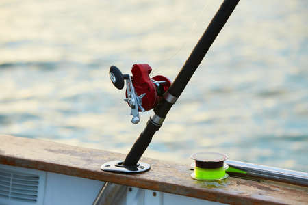 fishing reel in natural setting with sea on background