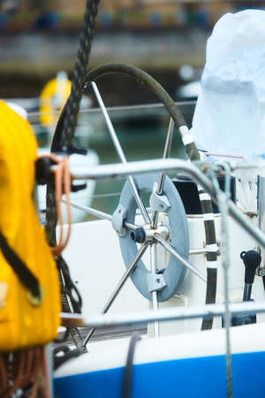 Detail of the steering wheels of sail yacht.