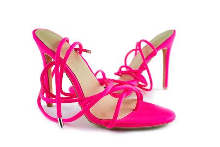 Women's pink high heel sandals isolated on the white background. Standard-Bild