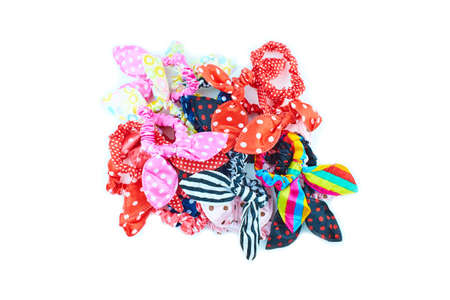 Rubber bands with bow on white background. Women's scrunchies.