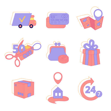 Vector set icons for web and mobile applications. Bank card, box, truck, package, money, wallet, location, map halved price
