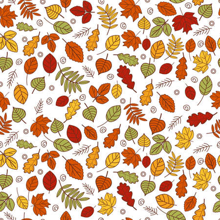 Vector seamless pattern of autumn leaves. Background for textile or book covers, wallpapers, graphic art, cards, printing, invitation, home decor. Trendy flat style.