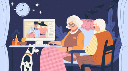 Family online. Grandparents talk with children via video link. Halloween family celebration during the pandemic. Traditional autumn holiday.