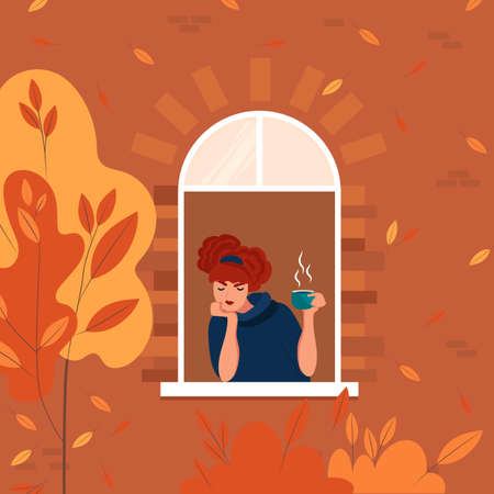 Young woman at home longing at window. Autumn landscape outside. Self isolation concept vector illustration. Stay home. Çizim