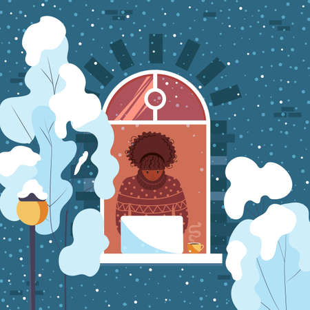 African american girl working with laptop at home. Freelance women. Winter outside the window. Cute vector illustration.