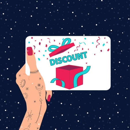 Discount coupons in hand with tattoos. Special offer on Christmas. Vector illustration.