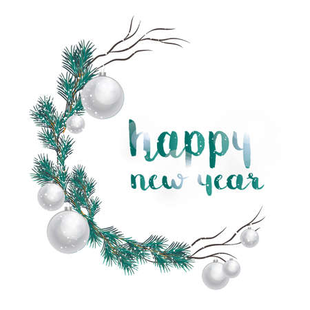 New Year and Christmas decoration balls and fir vector cartoon illustration