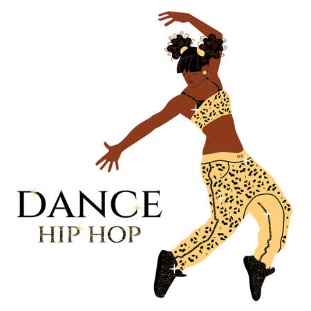 Hispanic or Latino American women dancing hip-hop. Glamorous fashion girl in gold sequins and leopard print. For flyer, poster, web, poster, inviting. Vector illustration